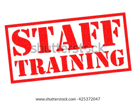 STAFF TRAINING red Rubber Stamp over a white background. - stock photo
