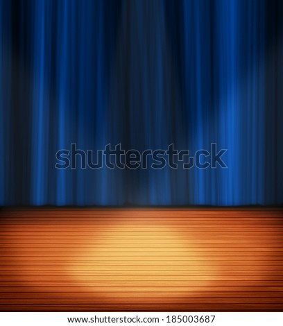 stage and blue backdrop - stock photo