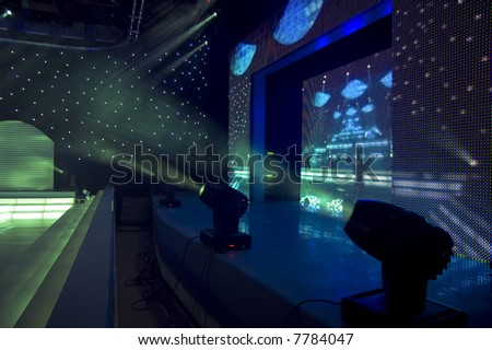 Stage blue and green lights - prepared for production and shooting - stock photo