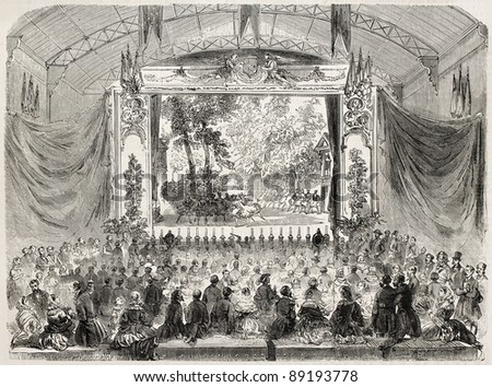 Stage in the railway station, old illustration, Cherbourg. Created by Gaildrau, published on L'Illustration, Journal Universel, Paris, 1858 - stock photo