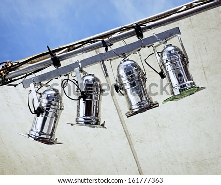 stage lights at a tent - stock photo