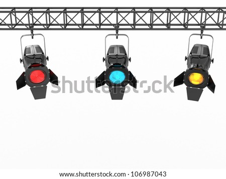 Stage lights on white isolated background. 3d - stock photo