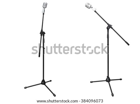 stage microphone isolated on white background - stock photo