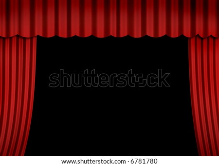 Stage (open curtain) - stock photo