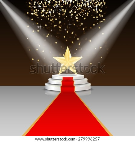 Stage podium with red carpet and star on brown background - stock photo