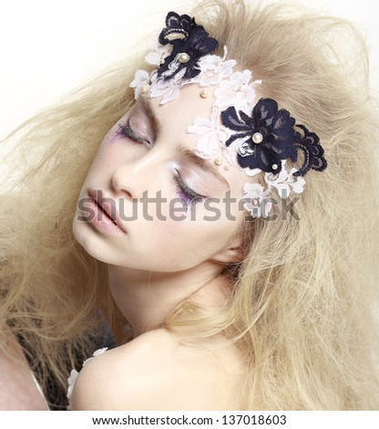 Stage. Sensuality & Dreaminess. Theatrical Emotions. Dramatic Actress acting in Theater. Performance - stock photo