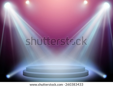 stage spot lighting over pink background. - stock photo