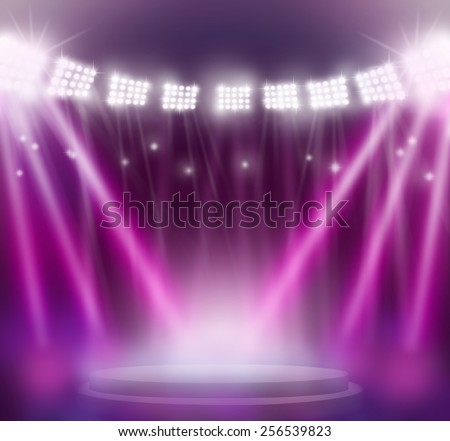 stage spot lighting over Purple background. - stock photo