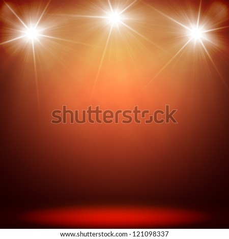 stage spot lighting over red christmas texture - stock photo