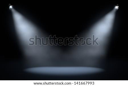 stage spotlights background - stock photo