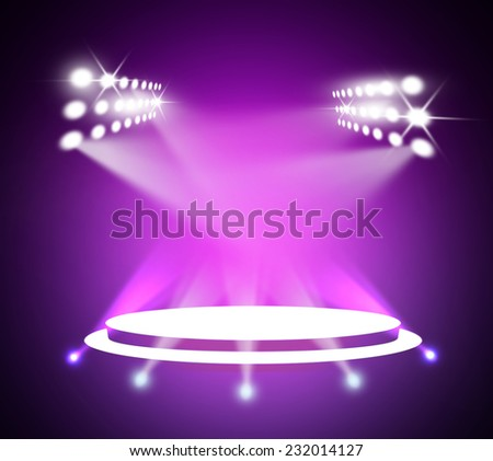Stage theater on purple background  - stock photo