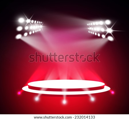 Stage theater on red pink background  - stock photo