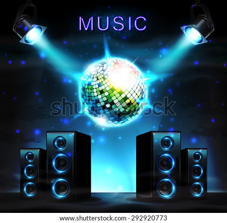 Stage with audio speakers, disco ball, spotlight and sparkles. Music background. - stock photo