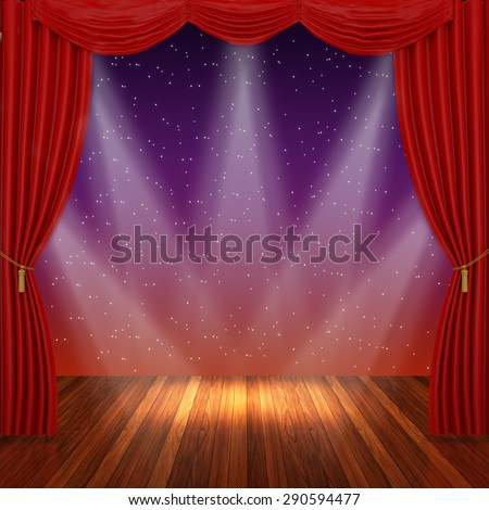 Stage with red curtains and spotlight. - stock photo
