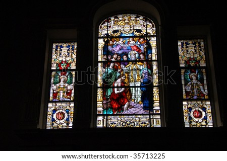 stain glass window at historic church st Augustine Florida - stock photo