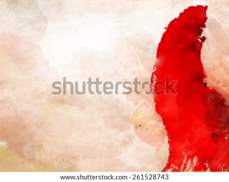 stain red paint over background. Grunge, splash, design, artistic, culture, abstract, Chinese pattern idea wallpaper - stock photo