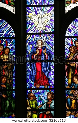 Stained glass - Almudena Cathedral, Madrid - stock photo