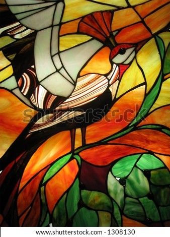 Stained Glass Bird - stock photo