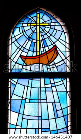 stained-glass church window  - stock photo