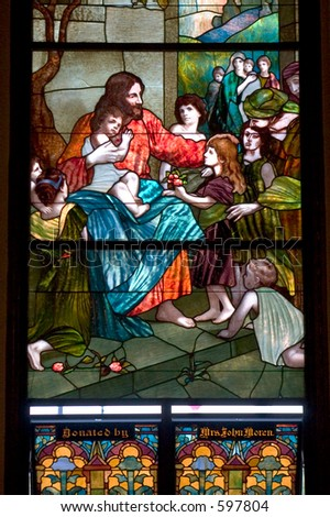 Stained glass church window. - stock photo