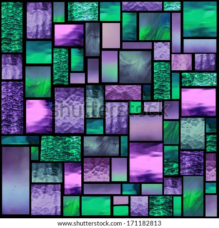 Stained glass church window in a purple and green tone, square orientation - stock photo