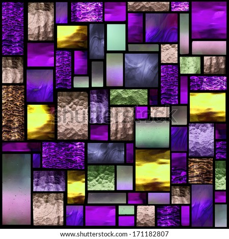 Stained glass church window in a purple tone, square orientation - stock photo