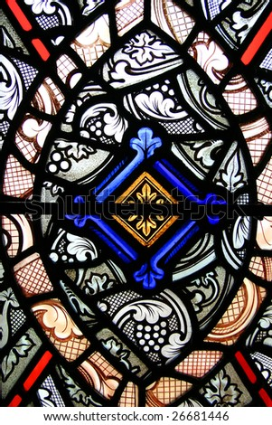 Stained glass in London Tower - stock photo