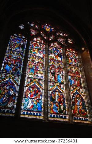 Stained glass in the Cathedral Church of the Holy and Undivided Trinity of Ely Cambridgeshire East Anglia England UK - stock photo