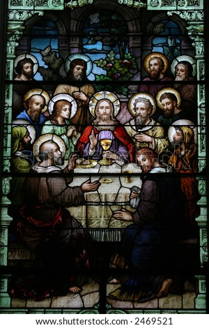 Stained Glass of the Last Supper - stock photo