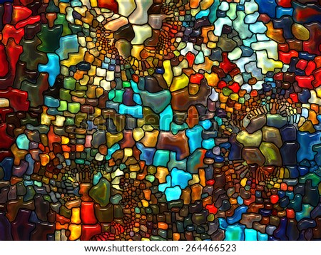 Stained Glass Pattern series. Visually attractive backdrop made of virtual stained glass fragments suitable as element for layouts on art, craft and design - stock photo