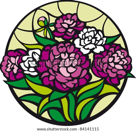 Stained-glass peonies. A bouquet of peonies looks like a stained-glass window. - stock photo