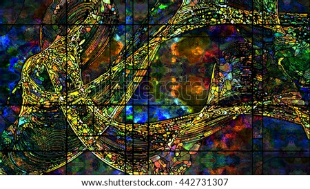 Stained Glass series. Composition of colorful stained glass patterns with metaphorical relationship to art, design and forces of Nature for extra large displays. - stock photo