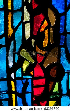 Stained Glass - Vertical Red to Right - stock photo