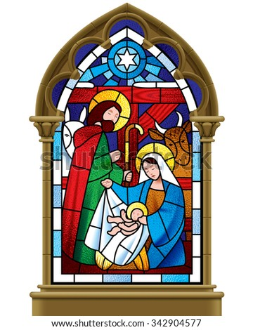 Stained glass window depicting Christmas scene in gothic frame isolated on white background - stock photo
