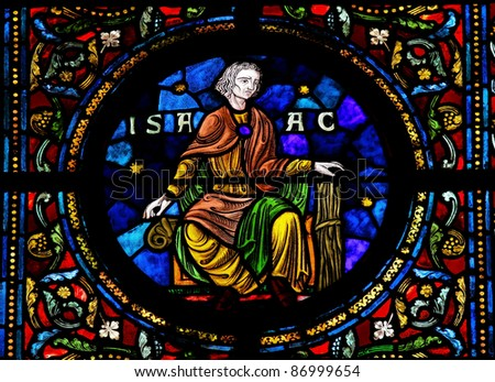Stained glass window depicting Isaac, one the Hebrew patriarchs, son of Abraham in the Notre Dame church of Dinant, Belgium, - stock photo