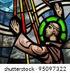 Stained glass window depicting Saint Francis of Assisi - stock photo