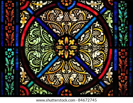Stained glass window design - stock photo