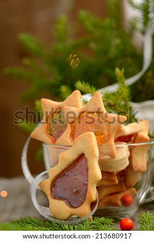 Stained glass window gingerbread cookies for Christmas - stock photo
