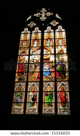 Stained glass window in a church with the nativity scene - stock photo
