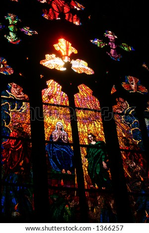 Stained Glass Window in the Prague Cathedral - stock photo