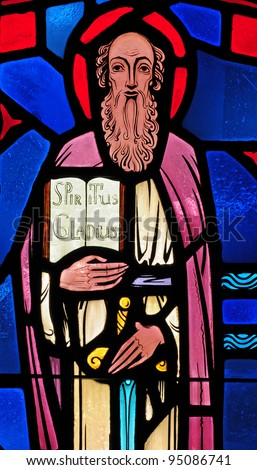 Stained glass window of Saint Paul - stock photo