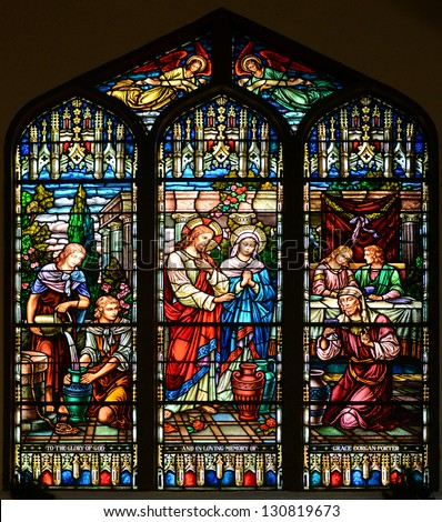 Stained Glass Window of St Paul's Episcopal Church, Key West, Florida, USA - stock photo