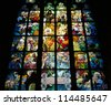 Stained glass window of St. Vitus Cathedral - stock photo