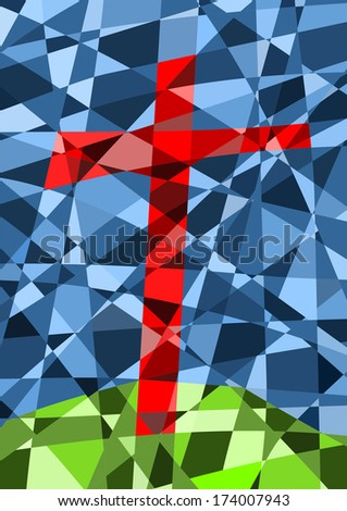 stained glass window with a cross - stock photo