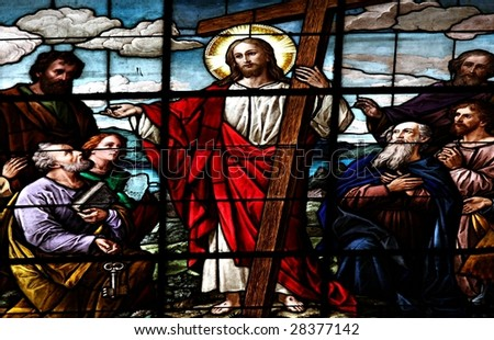 Stained glass windows at cathedral in Santiago de Chile - stock photo
