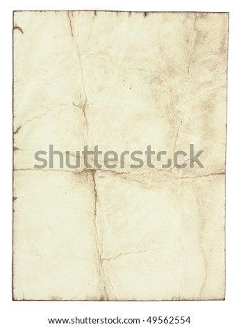 Stained old paper with rough edges - stock photo