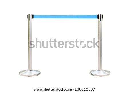Stainless barricade with blue rope isolate on white background - stock photo
