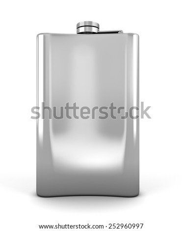 Stainless hip flask isolated on a white background. 3d illustration. - stock photo