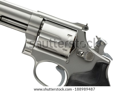Stainless 357 Magnum Revolver Cocked on White - stock photo