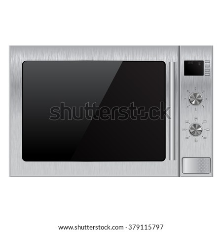 Stainless microwave oven.  Illustration isolated on white background. Raster version - stock photo
